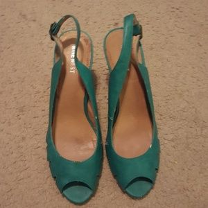 Teal green shoes